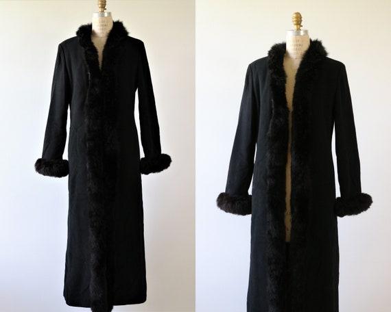 Black Fur Trimmed Opera Dress Coat Formal