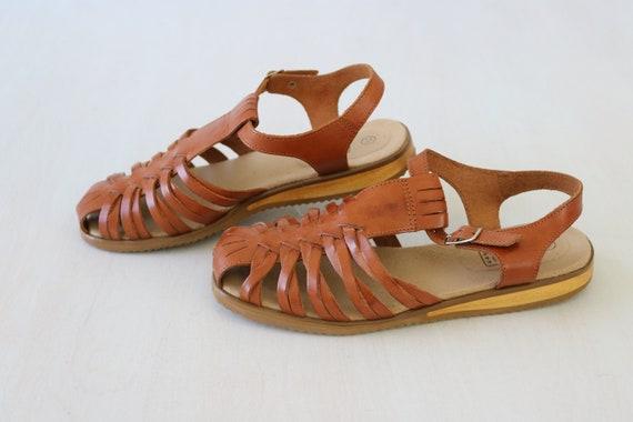 Huarache Sandals Woven T Strap Size 7 Leather Tan