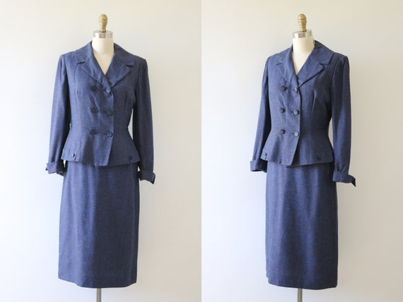 Vintage 1940s Suit Peplum Jacket Blazer Fitted