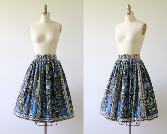 1950s Full Cotton Floral Skirt
