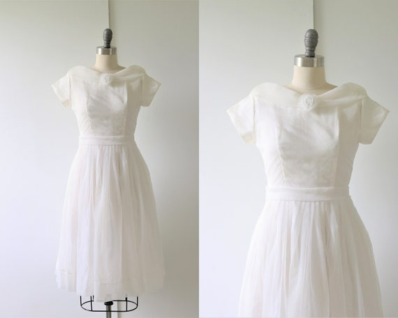 Vintage 1950s White Formal Prom Dress Special Even