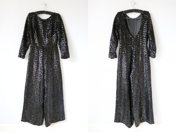 Black Sequin Jumpsuit 1970s Lord and Taylor