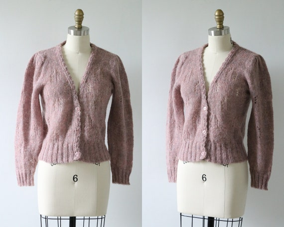 Mohair Cardigan Sweater Button Down Lavender 1980s