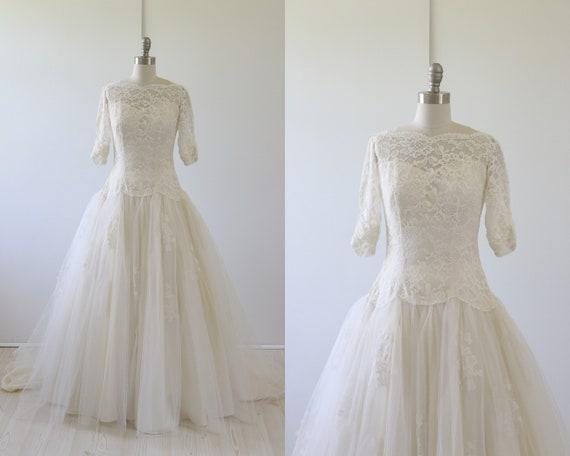 Vintage 1950s Wedding Dress Lace Tulle Full Skirt