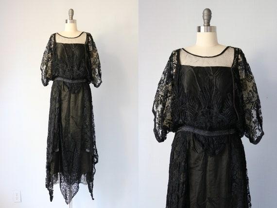20s Dress 1920's Black Silk Beaded Flapper Dress w