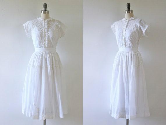 1940s White Dress Cotton Ruffles and Lace