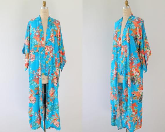 Japanese Kimono Robe Blue Boho Bohemian Festival A