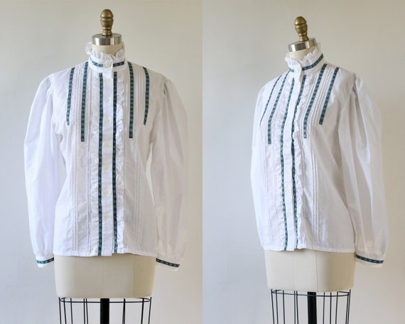 Prairie Blouse White Ruffled Collar Medium