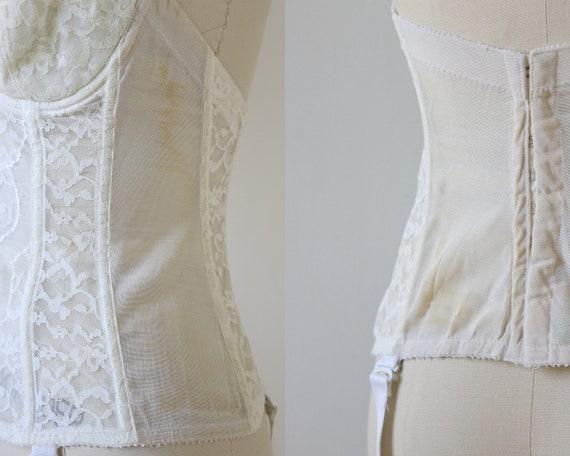 Vintage White Bustier Corset 1950's Lace - image 6