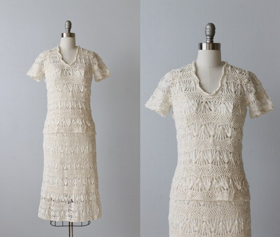 Vintage Crochet Dress / 1970s Crocheted Dress / Co
