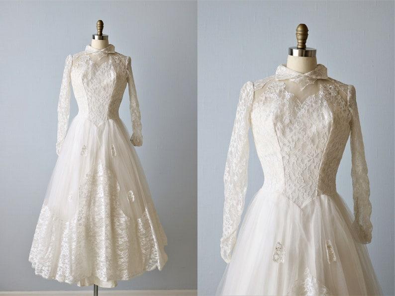 6eccf3d70009 Vintage Wedding Dress 1950s Tea Length Long Sleeves | Etsy