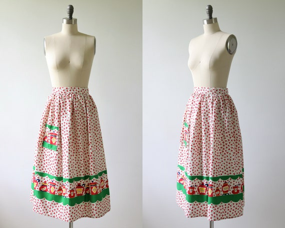1950s Novelty Print Cotton Skirt