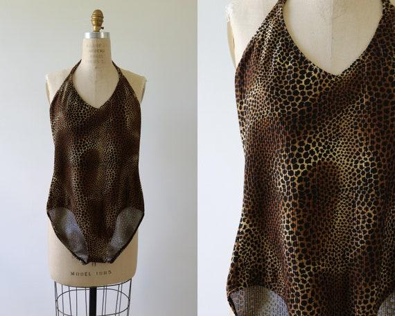 1980s Leotard Swimsuit Leopard Print Bodysuit One