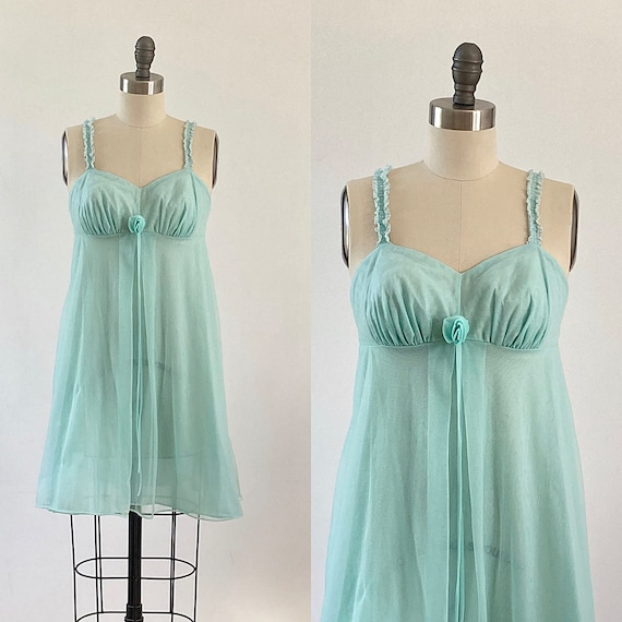 Mint Green  Baby Doll Nightgown Chiffon Ruffles La