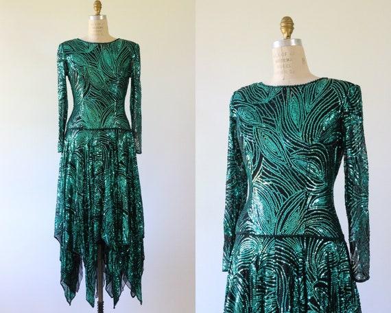 Emerald Green Sequin Cocktail Dress Silk 1980s