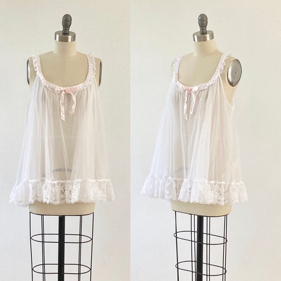 White Baby Doll Nightgown Chiffon Ruffles Lace Bab