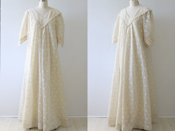 Lace Maxi Dress Boho Wedding Dress 1970s Liberty H