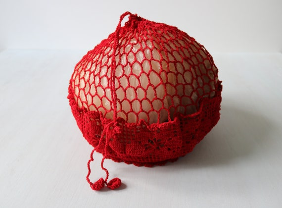 Red Crochet Handbag Purse Tote
