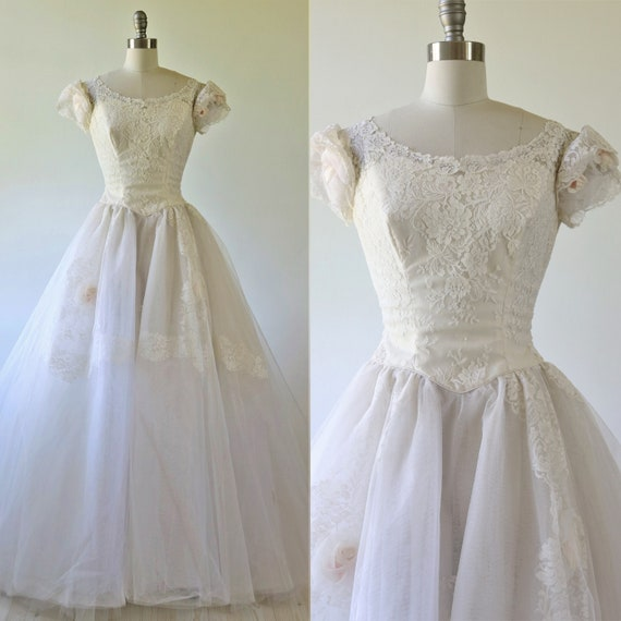1950s Wedding Dress Fairytale Ball Gown Lace Blush