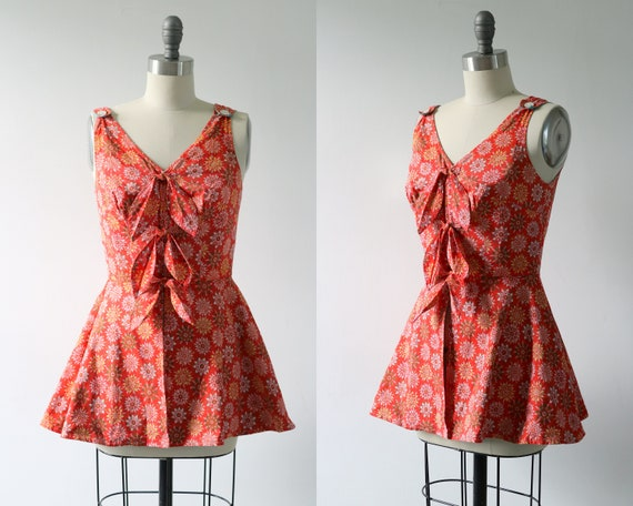 Vintage 1950s Romper Playsuit Bathing Suit Top