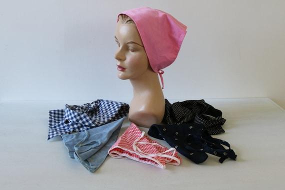hair wrap// Neckerchief Black satin head scarf brown bear print design