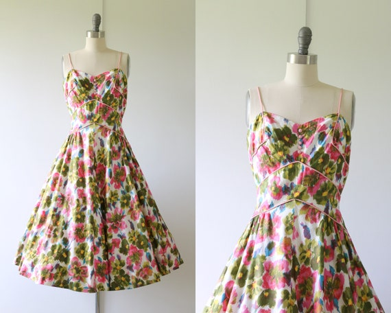 1950s Novelty Floral Cotton Dress Lou-Ette Califor