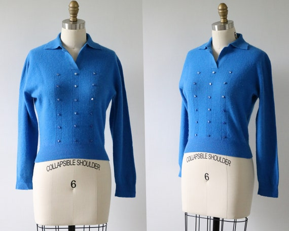 Blue Pullover Sweater Cashmere Knit Sweater 1950s
