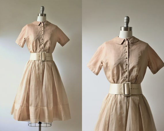 1950s  Peter Pan Collar Dress Champagne Beige Cock