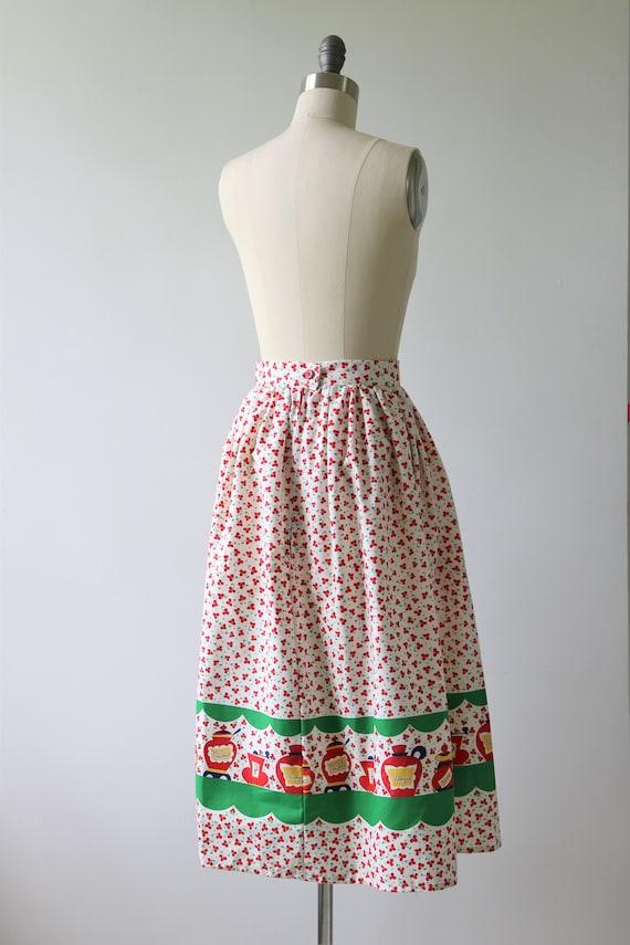 1950s Novelty Print Cotton Skirt - image 4