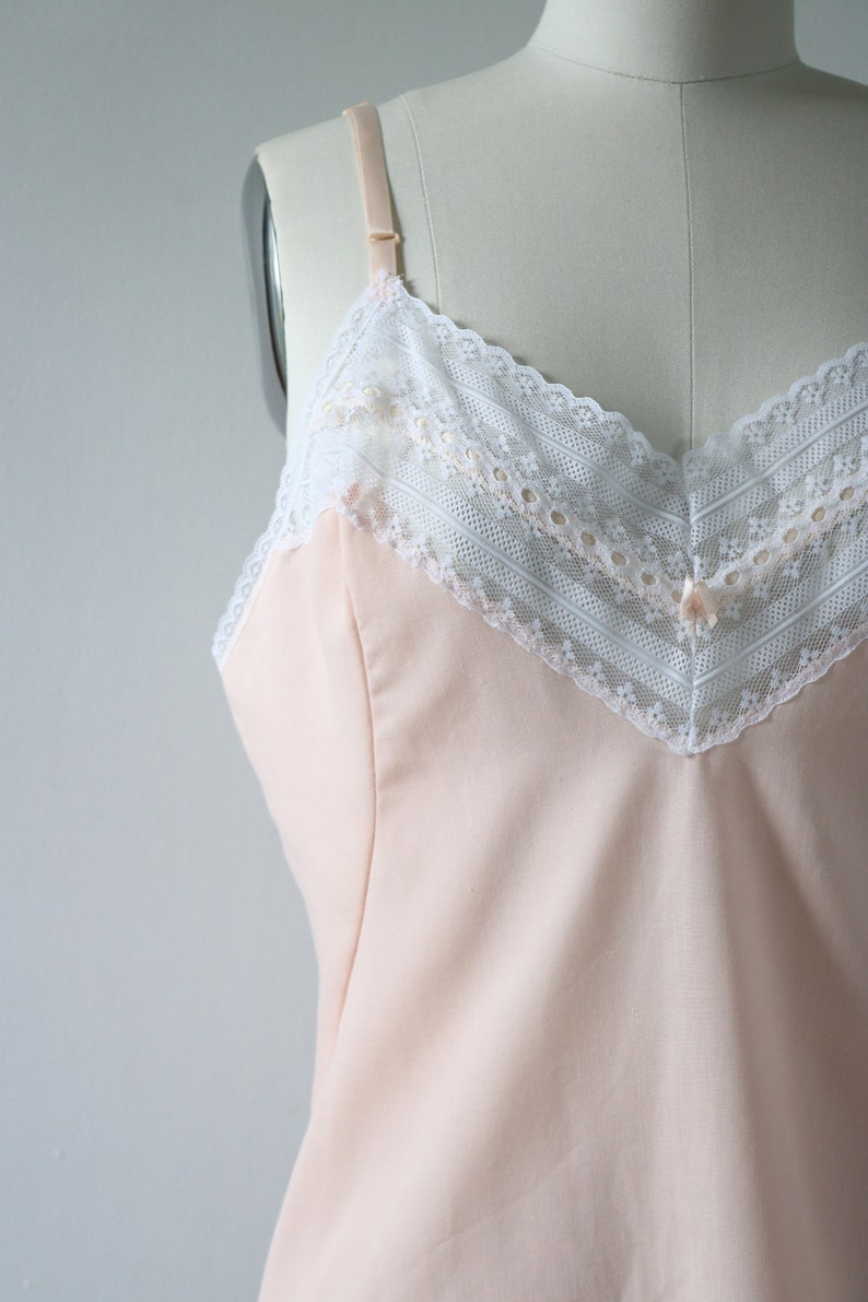 Peach Pink Lace Cotton Cami Camisole Tank Top Blouse