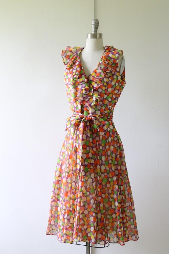 1960s Dress Mod Dress Ruffled Neckline Polka Dot - image 2