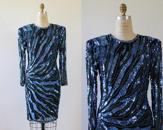 Blue Sequin Cocktail Dress Silk 1980s