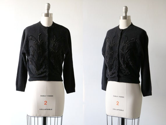 Black Beaded Cardigan Sweater 1950s Pinup