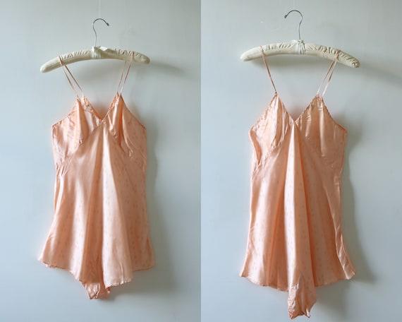 Vintage 1940s Chemise Teddy Slip Bodysuit Peach Un