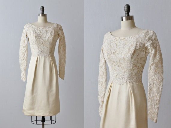 Sale Vintage 1960s Lace Knee Length Wedding Dress Long Sleeves Short Wedding Dress Meet Me At Noon