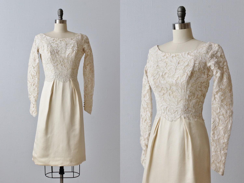 Vintage 1960s Lace Knee Length Wedding Dress / Long