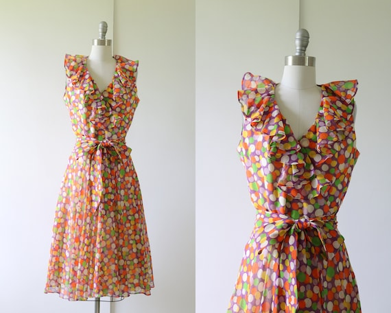 1960s Dress Mod Dress Ruffled Neckline Polka Dot