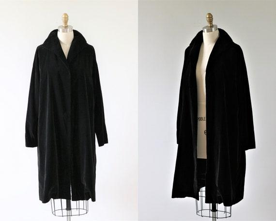 Black Opera Coat Swing Coat Dress Coat Open Front