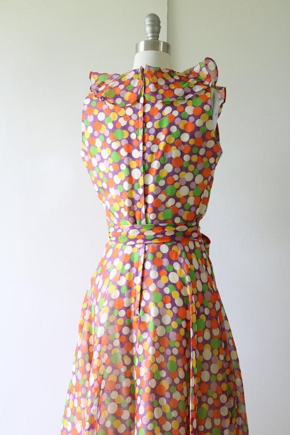 1960s Dress Mod Dress Ruffled Neckline Polka Dot - image 4