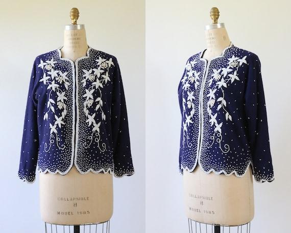 1950s Beaded Cardigan Sweater Navy Blue