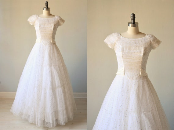 Vintage Wedding Dress 1950s Tulle Swiss Dot