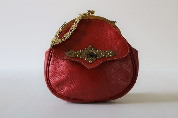 Roger Van S Red Top Handle Handbag Purse 1960s