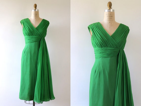 Chiffon Dress Formal Cocktail 1960s Mod Grecian