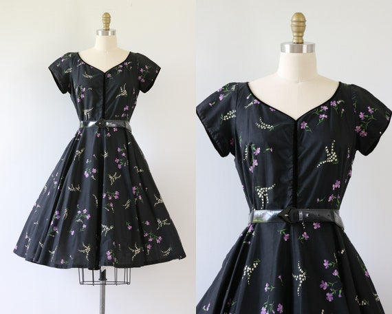 1950s Novelty Cotton Dress Full Circle Skirt