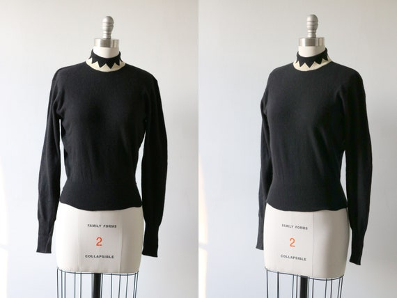 Black Pullover Cashmere Sweater 1950s Pinup Pringl