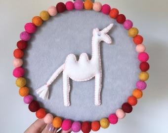 Embroidery hoop art, Camelcorn hoop, magical creature, camel unicorn, modern whimsical decor, hand sewn decor, multicolor pompoms, OOAK