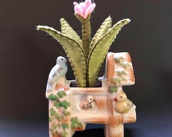 Felt plant in vintage planter - mini bird house ceramic decorative planter - mixed media shelf decor - OOAK design by HibouDesigns