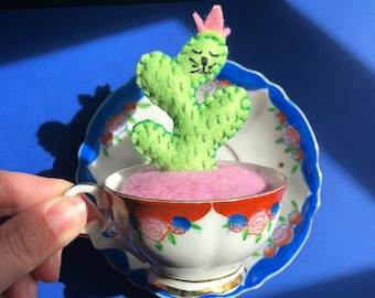 CaTcus in planter - vintage made in occupied japan porcelain toy teacup  - cactus cat plushie - original art by HibouDesigns