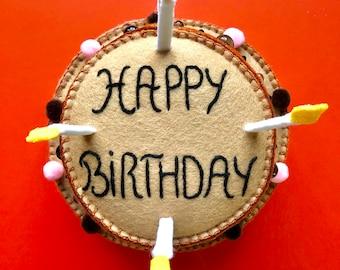 Birthday cake, felt plush birthday cake prop, birthday centerpiece decor, OOAK fiber art by HibouDesigns