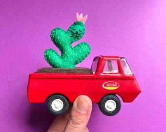 CaTcus in vintage planter - mini vintage Tonka truck 60s 70s - cactus cat plushie in repurposed vintage toy - original art by HibouDesigns